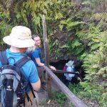 På vej ned i lava tunnel